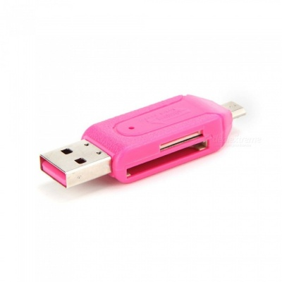 5PCS USB Mini USB TF Card Reader - Pink