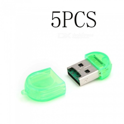 Mini USB TF Card Reader - Green (5PCS)
