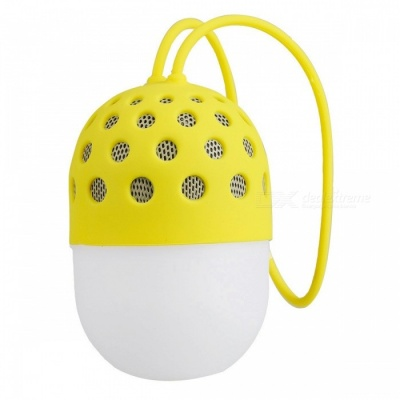 P-TOP Portable Creative Waterproof Mini Firefly Colorful LED Light Bluetooth Speaker for Mobile Phone - Yellow