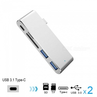 Cwxuan USB 3.1 Type-C to Type-C, USB 3.0 HUB, TF SD Card Reader with Charging Port Adapter - Silver