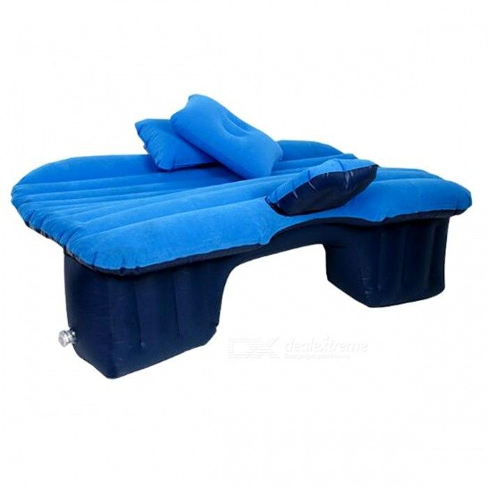 P-TOP Good Quality Inflatable Car Back Seat Cover Air Mattress Travel Bed - Blue