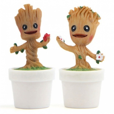 DIY Hand-made Cute Groot Style Gardening Doll with Flowerpot Home Decoration - Wood Color + White (2PCS)