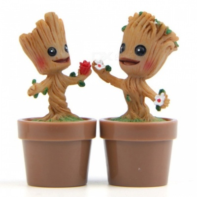 DIY Hand-made Cute Groot Style Gardening Doll with Flowerpot Home Decoration - Wood Color (2PCS)
