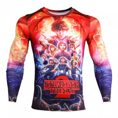 CTSmart TD135 Novelty Story Men's Fashion 3D Animation Long Sleeve Compression Tee T-Shirt - Red (3XL)