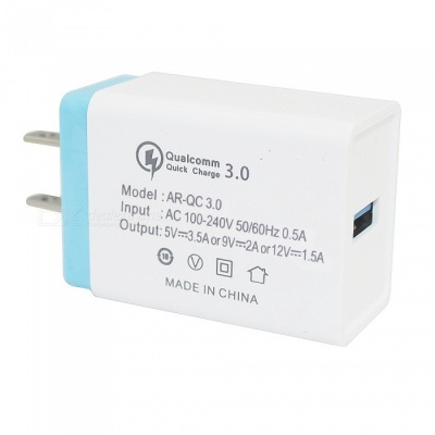 Mini Smile 18W Universal Travel QC3.0 Quick Charge USB Power Adapter Wall Charger - Blue + White (US Plug)