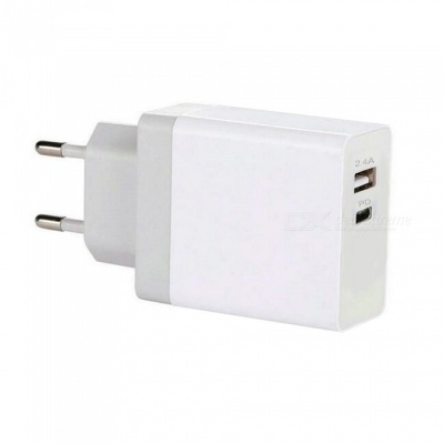Mini Smile Universal 30W QC3.0 Quick Charge Dual Port Type-C PD Port Power Charger Adapter - White (EU Plug)