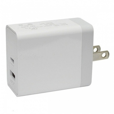 Mini Smile Universal 30W QC3.0 Quick Charge Dual Port Type-C PD Port Power Charger Adapter - White (US Plug)