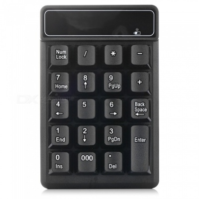 2.4G Wireless Numeric Keypad Keyboard with 19 Key for Finance / Accounting - Black