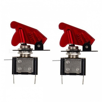 YENISEI DC 12V 20A Red LED SPST ON/OFF Racing Car Toggle Switch - Red (2PCS)