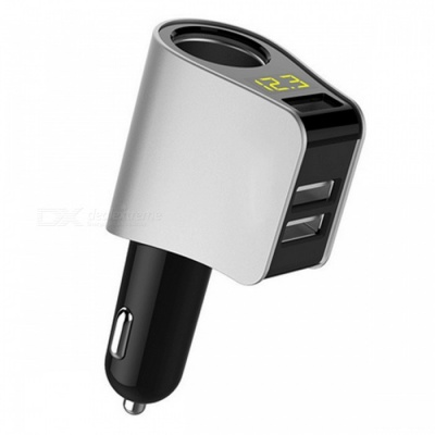 HY-10 Stylish Car Cigarette Lighter Charger with 3 USB Ports, Digital Display - Silver
