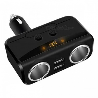 1 to 2 Car Cigarette Lighter Socket Charger with Dual USB Ports, Digital Display - Black