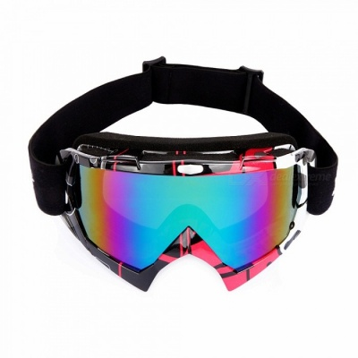 WOLFBIKE Winter Windproof Ski Glasses Goggles, UV 400 Protection Anti-fog Snow Glasses for Men - Red