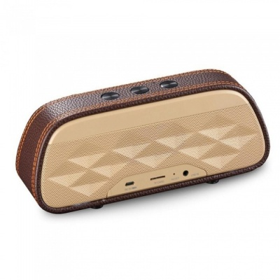 Fashion HIFI Outdoor Portable 3D Stereo Music Surround Wireless Bluetooth Speaker Sound System for Phone / PC - Brown