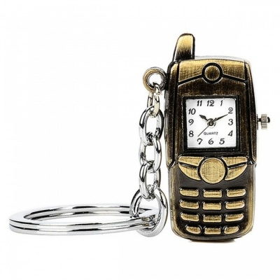 Vintage Retro Mobile Phone Watch Style Ornaments with Keychain Keyring - Bronzed