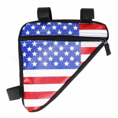 Ctsmart 1.5L American Flag Pattern Leather Triangle Bag for Bike - Blue White Red