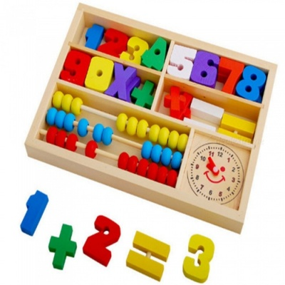 Children's Early Education Multi-Function Digits Blocks Puzzle Abacus Box
