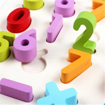 Wooden 3D Three-Dimensional Digits Finger Board Jigsaw Puzzle Toy for Children