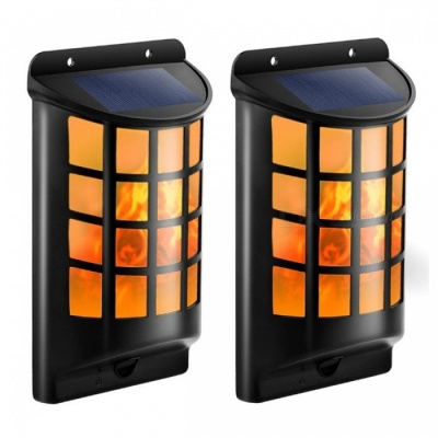 P-TOP Outdoor Solar Powered LED Flame Wall Lawn Lamp, Decorative Torches Landscape Courtyard Light (2 PCS)