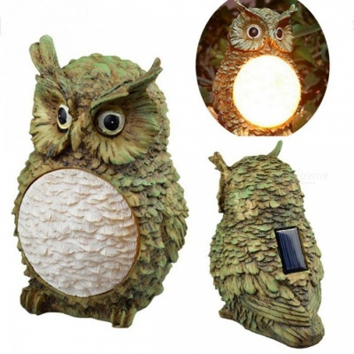 P-TOP Owl-shaped Solar Powered Control LED Waterproof Fence Light for Outdoor Garden Courtyard Decoration