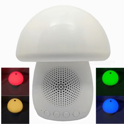 T6 Touch Mushroom Colorful Light Bluetooth V2.1 Speaker with TF for PC / Phone - White