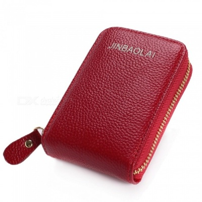 JIN BAO LAI Stylish Zippered Card Holder Wallet for Women - Red