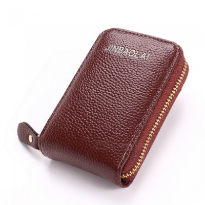 JIN BAO LAI Stylish Zippered Card Holder Wallet - Brown