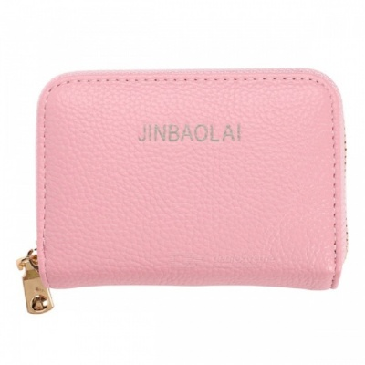 JIN BAO LAI Stylish Zippered Card Holder Wallet - Pink
