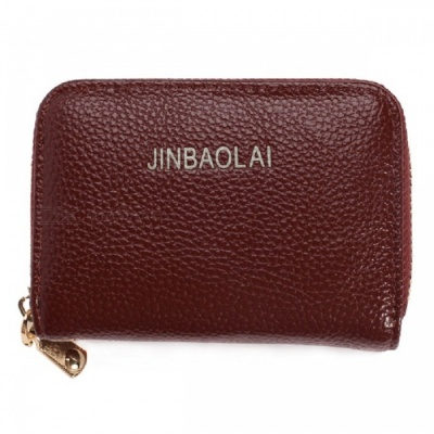 JIN BAO LAI Stylish Zippered Card Holder Wallet - Coffee