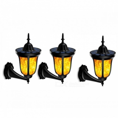 P-TOP Solar Powered Flickering 96-LED Wall Light Outdoor Flame Style Light Waterproof Lantern Design - 3PCS
