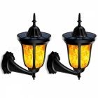 P-TOP Solar Powered Flickering 96-LED Wall Light Outdoor Flame Style Light Waterproof Lantern Design - 2PCS