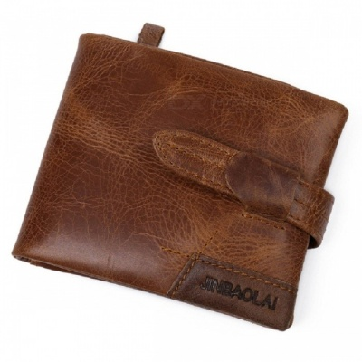 JIN BAO LAI Men's Stylish Folding Leather Card Holder Wallet - Brown