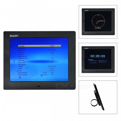"IN-Color 8"" Digital Photo Frame, Support 800 x 600 Video, Music, Scroll Caption Advertising, Calendar, Clock, MP3, MP4 - Black"
