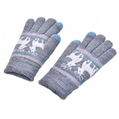 Women's Stylish Winter Touch Screen Gloves, Riding Cashmere Thickened Warm Full Finger Gloves for Phone Tablet PC - Gray
