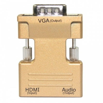 HDMI Female to VGA Male Converter with Audio Adapter - Golden
