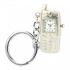 Vintage Retro Mobile Phone Watch Style Ornaments with Keychain Keyring - Silver