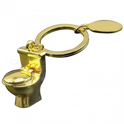 Mini Toilet Closestool Shaped Funny Metal Keychain - Golden