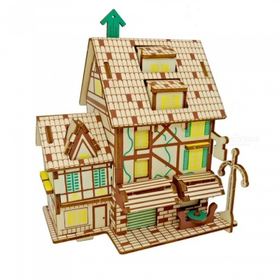 DIY French Coffee Shop Style 3D Wooden Three-Dimensional Puzzle Educational Toy