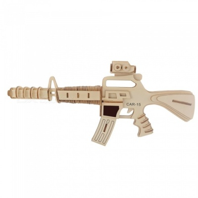 DIY Carbine Style 3D Wooden Puzzle Educational Toy
