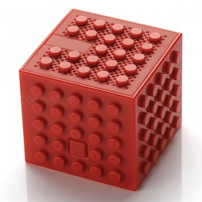 Creative Building Block Style Toy Bluetooth Speaker - Red