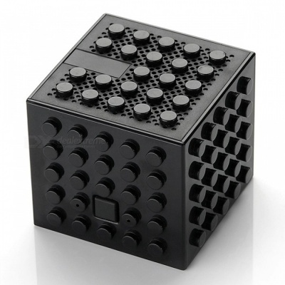 Creative Building Block Style Toy Bluetooth Speaker - Black