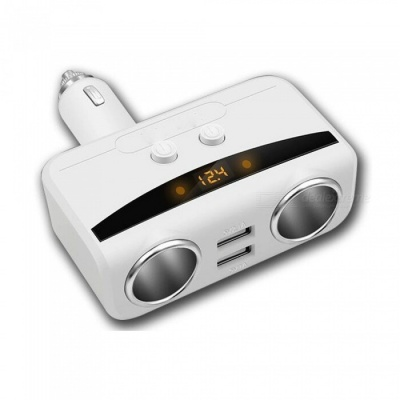 1 to 2 Car Cigarette Lighter Socket Charger with Dual USB Ports, Digital Display - White