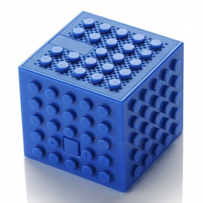 Creative Building Block Style Toy Bluetooth Speaker - Blue