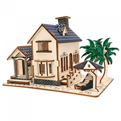 DIY Villa 3D Wooden Three-Dimensional Puzzle Educational Toy for Kids