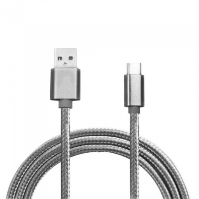 Mini Smile 300CM Nylon Woven Quick Charge USB 3.1 Type-C to USB Male Charging Data Transfer Cable - Grey
