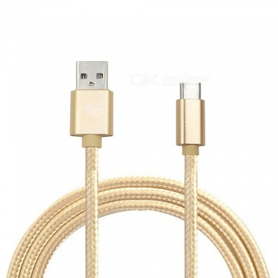 Mini Smile 300CM Nylon Woven Quick Charge USB 3.1 Type-C to USB Male Charging Data Transfer Cable - Golden