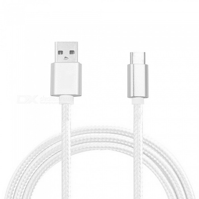 Mini Smile 300CM Nylon Woven Quick Charge USB 3.1 Type-C to USB Male Charging Data Transfer Cable - White