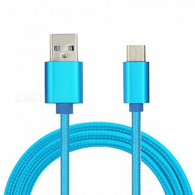 Mini Smile 300CM Nylon Woven Quick Charge USB 3.1 Type-C to USB Male Charging Data Transfer Cable - Blue