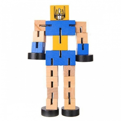 Wooden Transformation Robot Car Building Blocks Educational Toy Gift for Kids - Blue