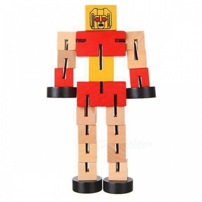 Wooden Transformation Robot Car Building Blocks Educational Toy Gift for Kids - Red