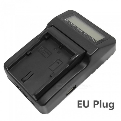 110-240V LP-E6 Battery Charger with LCD Screen / USB for 5D2 5D3 7D 60D 6D 70D - Black (EU Plug)